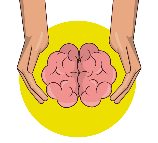 Gehirn zwischen Händen